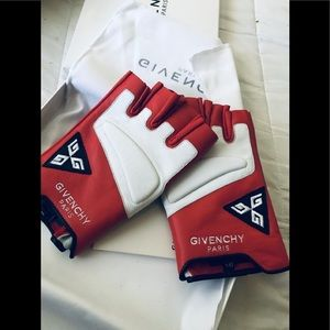 Givenchy Red/Blk/Whte Fashion Leather Gloves NIB